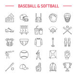 Baseball, softball sport game vector line icons. Ball, bat, field, helmet, pitching machine, catcher mask. Linear signs Royalty Free Stock Photography