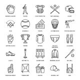 Baseball, softball sport game vector line icons. Ball, bat, field, helmet, pitching machine, catcher mask. Linear signs. Set, championship pictograms with royalty free illustration