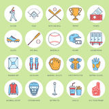 Baseball, softball sport game vector line icons. Ball, bat, field, helmet, pitching machine, catcher mask. Linear signs Stock Photos