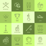 Baseball, softball sport game vector line icons. Ball, bat, field, helmet, pitching machine, catcher mask. Linear signs Stock Images