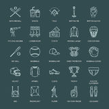 Baseball, softball sport game vector line icons. Ball, bat, field, helmet, pitching machine, catcher mask. Linear signs Royalty Free Stock Photos