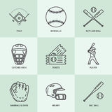 Baseball, softball sport game vector line icons. Ball, bat, field, helmet, pitching machine, catcher mask. Linear signs Royalty Free Stock Image