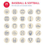 Baseball, softball sport game vector line icons. Ball, bat, field, helmet, pitching machine, catcher mask. Linear signs Stock Photography