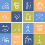 Baseball, softball sport game vector line icons. Ball, bat, field, helmet, player, catcher mask. Linear signs set Stock Photo