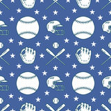 Baseball, softball sport game vector seamless pattern, background with line icons of balls, gloves, bat, helmet. Linear. Signs for championship, equipment store Royalty Free Stock Images