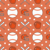 Baseball, softball sport game vector seamless pattern, background with line icons of balls, player, gloves, bat, helmet Stock Photography