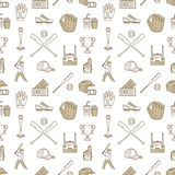 Baseball, softball sport game vector seamless pattern, background with line icons of balls, player, gloves, bat, helmet Royalty Free Stock Photos