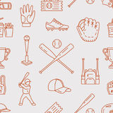 Baseball, softball sport game vector seamless pattern, background with line icons of balls, player, gloves, bat, helmet Royalty Free Stock Images