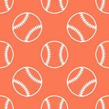 Baseball, softball sport game vector seamless pattern, orange background with line icons of balls. Linear signs for Royalty Free Stock Images