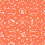 Baseball, softball sport game vector seamless pattern, orange background with line icons of balls, player, gloves, bat Royalty Free Stock Images