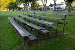 Baseball And Softball Stands. Seating Stands For Spectators In A Suburban Community Park stock image