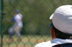 Baseball Spectator 2. Man with white cap watching a baseball game Stock Images