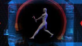 Baseball-Spieler-Biowissenschafts-Technologie-Anzeige vektor abbildung
