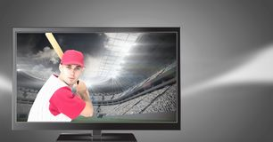 Baseball-Spieler im Fernsehen Stockfotos