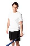 Baseball-Spieler im weißen T-Shirt mit Schläger Lizenzfreies Stockbild
