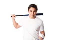 Baseball-Spieler im weißen T-Shirt mit Schläger Lizenzfreies Stockfoto