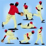 Baseball-Spieler-Schattenbildsatz Lizenzfreie Stockfotos