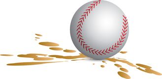 Baseball splat. Isolated baseball in a splatter of mud Stock Photo