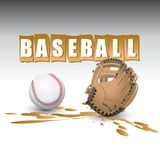 Baseball splat image. Baseball and glove with muddy logo Royalty Free Stock Photography
