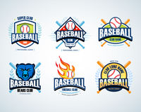 Baseball sport badge logo set. Design template and some elements for logos, badge, banner. T-shirt screen and printing. Stock Image
