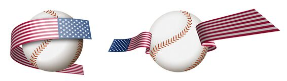 Baseball sport ball in ribbons with colors American flag. Design element for sport competitions. American national sport. Isolated