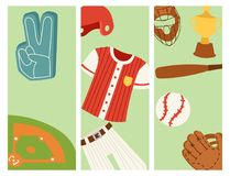 Baseball sport competition game team banner softball play cartoon icons design sporting equipment vector illustration. Baseball sport competition game banner stock illustration