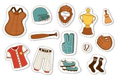 Baseball sport competition game team symbol softball play cartoon icons design sporting equipment vector illustration. American professional league tools vector illustration