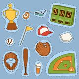 Baseball sport competition game team symbol softball play cartoon icons design sporting equipment vector illustration. American professional league tools stock illustration