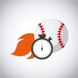Baseball sport design. Baseball ball on fire and chronometer over white background. colorful design. vector illustration Royalty Free Stock Image