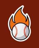 Baseball sport design. Baseball ball on fire over red background. colorful design. vector illustration Royalty Free Stock Photo