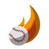 Baseball sport design. Baseball ball on fire over white background. colorful design. vector illustration Stock Images