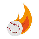 Baseball sport design. Baseball ball on fire over white background. colorful design. vector illustration Royalty Free Stock Photo