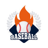 Baseball sport design. Emblem of baseball sport with ball on fire icon over white background. colorful design. vector illustration Stock Images