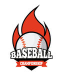 Baseball sport design. Emblem of baseball sport with ball on fire icon over white background. colorful design. vector illustration Stock Photos