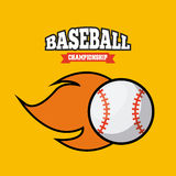 Baseball sport design. Emblem of baseball sport with ball on fire icon over yellow background. colorful design. vector illustration Royalty Free Stock Photos