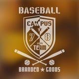 Baseball sport emblem 1. Emblems baseball team on blurred background Stock Images