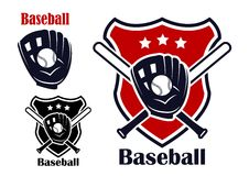 Baseball sport emblems. Retro baseball sport emblems or logos with ball stars bats,  glove and shield isolated on white. For recreation  sports or logo design Royalty Free Stock Image