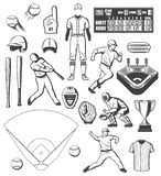 Baseball sport equipment and players outfit icons royalty free illustration
