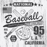 Baseball sport typography, Eastern league los angeles, sketch of crossed baseball batsand Stock Image