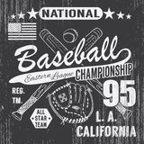 Baseball sport typography, Eastern league los angeles, sketch of crossed baseball batsand glove t-shirt Printing design graphics, Royalty Free Stock Photos