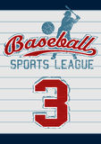 Baseball sports league. Embroidery design on stripes Royalty Free Stock Image