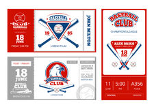 Baseball sports ticket vector design with vintage baseball team emblems. Template of baseball tickets championship illustration Stock Photo