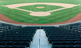 Baseball Stadium. With seating and a baseball diamond with green grass Stock Photo