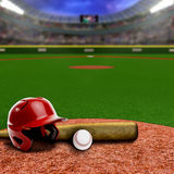 Baseball Stadium With Equipment and Copy Space. Baseball stadium full of fans in the stands with baseball helmet, bat and ball on infield dirt clay. Deliberate Royalty Free Stock Image