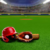 Baseball Stadium With Equipment and Copy Space Stock Photos