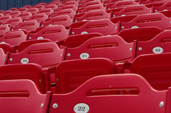 Baseball stadium seats 21. Grand stands of red stadium seats Royalty Free Stock Images