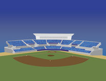 Baseball Stadium Vector. A vector illustration of a baseball stadium with the bleachers full of fans Stock Images