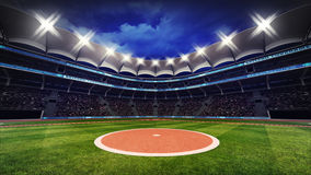 Baseball Stadium With Fans Under Roof With Spotlights Stock Images
