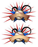 Baseball Star Two Illustration. A Star Logo With a baseball and Swirls that can be used for various backgrounds, sports or team logos, and other things that royalty free illustration