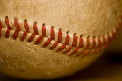Baseball stitch. Picture of a stitch on a baseball ball Stock Photography